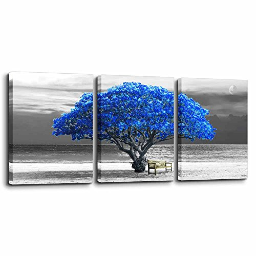 """3 Panels wall art for living room Decorations Photo Prints - panoramic black and white with blue trees The moon scenery - Modern Home Decor room Stretched Framed Ready to Hang artwork 12""""x16in3 piece"""