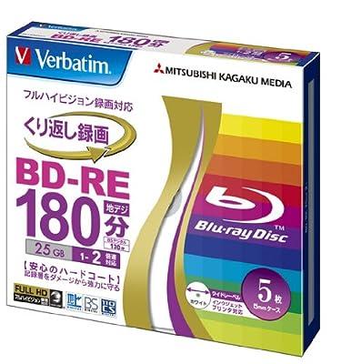 Verbatim Mitsubishi 25GB 2x Speed BD-RE Blu-ray Re-Writable Disk 5 Pack - Ink-jet printable - Each disk in a jewel case by VERBATIM CORPORATION