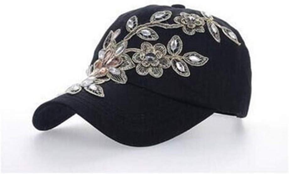 DoorsGu Womens Baseball Cap Diamond Painting Embroidery Flower Denim Hats Summer Sun Hat
