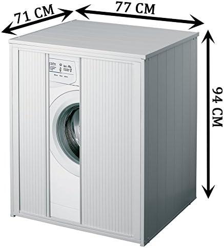 Negrari Armario protector lavadora secadora puerta corredera Silvestro Extragrande Incluye Kit montaje Económico proteger humedad Color blanco plástico Ideal interior exterior 77x71x94 cm (altura): Amazon.es: Bricolaje y herramientas