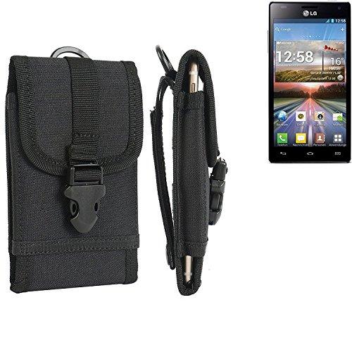bolsa del cinturón / funda para LG Electronics Optimus 4X HD, negro | caja del teléfono cubierta protectora bolso - K-S-Trade (TM)