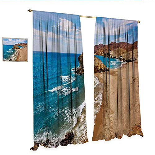 Landscape Patterned Drape for Glass Door Ocean View Tranquil Beach Cabo De Gata Spain Coastal Photo Scenic Summer Scenery Window Curtain Fabric W120 x L84 Blue Brown.jpg