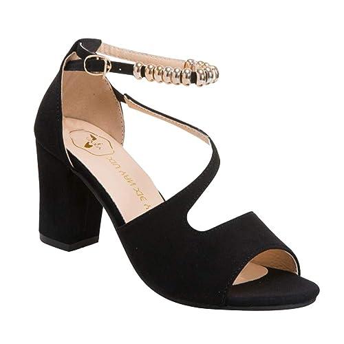 Zapatos Sandalia Tacón Damas Tiras Bloque Mujer Sandalias Huatime eH9YWEbD2I