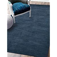 Rugsotic Carpets Hand Knotted Loom Wool 6 7 x 9 10 Area Rug Solid Blue L00111