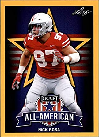 29fbf56e4 2019 Leaf Draft Gold Football RC Rookie Card  79 Nick Bosa Ohio State  Buckeyes