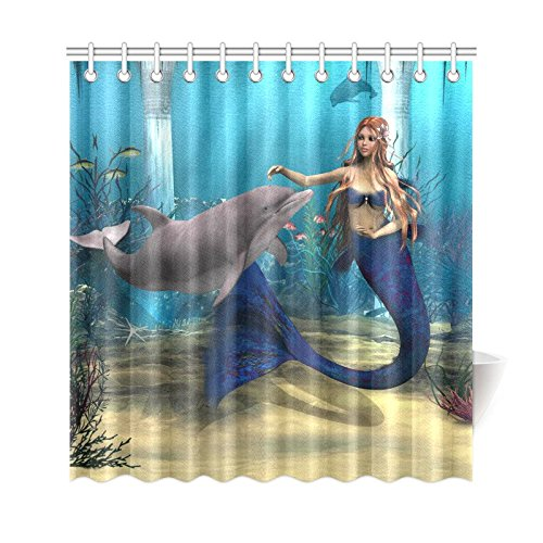 Good InterestPrint Underwater World Home Decor Mermaid Dolphin Polyester Fabric Shower Curtain Bathroom Sets 69