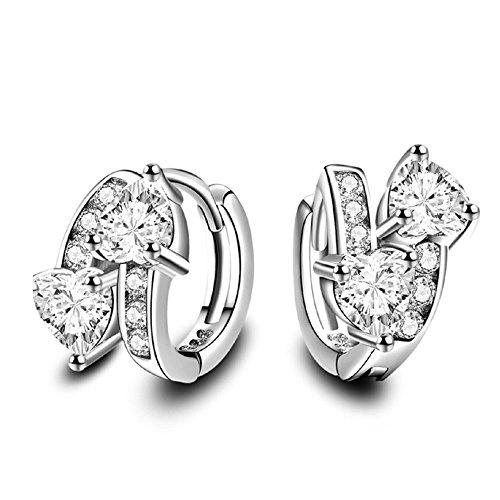 18k Platinum Gold Plated CZ Huggie Hoop Earrings Doulbe Heart Earrings for Women (18k Yellow Gold Heart Earrings)