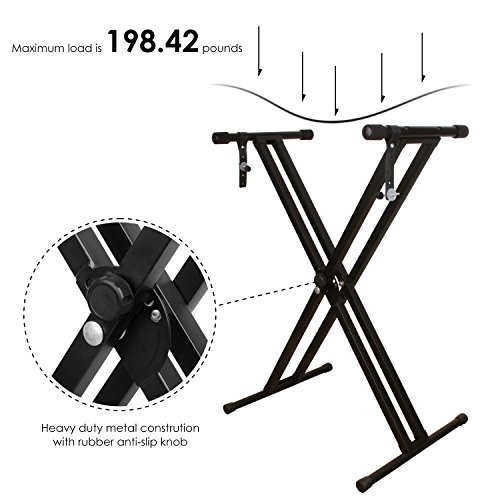Keyboard Stand, Ajustable Piano Stand, Heavy Duty X-Style Double Braced with Locking Straps for Keyboard and Piano, Mugig by Mugig (Image #2)