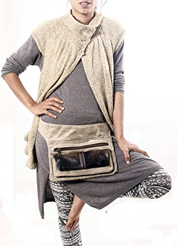 Unique Handmade Large Beige Waterproof Canvas and Brown Leather Fanny Pack, Traveler Waist ()