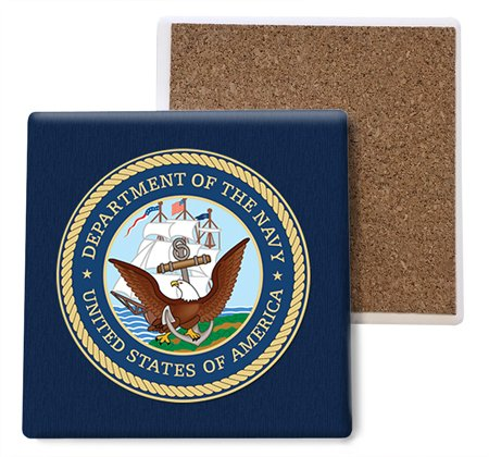 SJT ENTERPRISES, INC. United States Navy Absorbent Stone Coasters, 4-inch (4-Pack) (SJT96805)