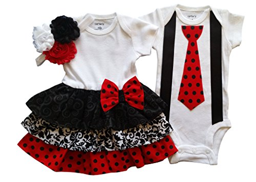 Made Outfit (Boy Girl Twin Outfits Scarlett and Scott by Perfect Pairz USA Made Outfit)