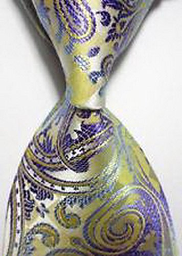 Jacob AleX #47192 Costume Paisley Purple Beige JACQUARD WOVEN Necktie (Voodoo Queen Costume)