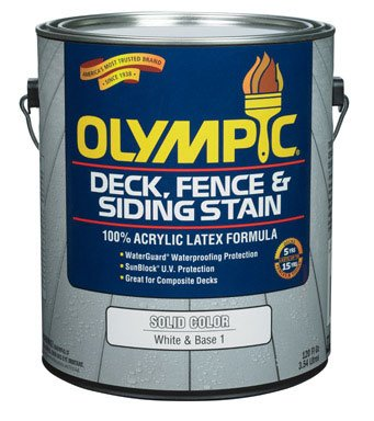 Olympic Solid Color Deck/ Fence/Siding Latex Stain Acrylic White Base 1 1 Gl (Olympic Solid Color Deck Stain)