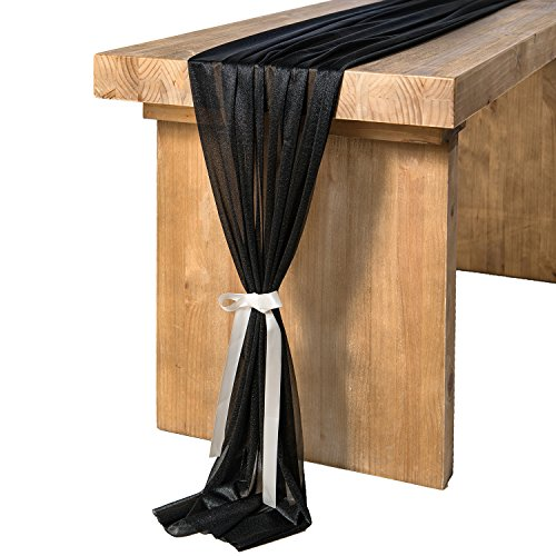 Ling's moment 32 x 120 inches Black Sheer Table Runner/Overlay for Black Wedding Party Decor Halloween Decorations