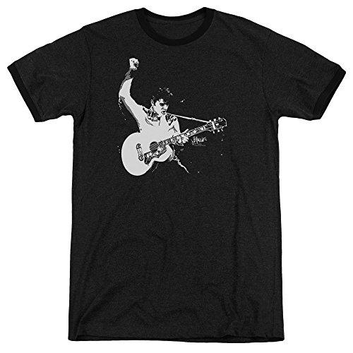 - Elvis Presley Black&White Guitarman Mens Adult Heather Ringer Shirt Black Xl