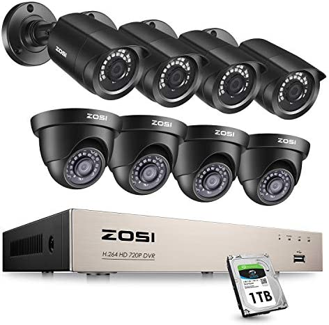 ZOSI 1080P Security Camera System with 1TB Hard Drive 8Channel CCTV DVR Recorder with 8 x1080P HD Weatherproof Surveillance Bullet Dome Cameras,Night Vision, Remote Access,Motion Detection