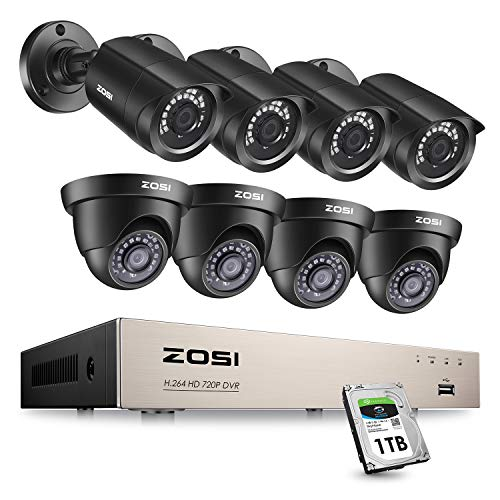 ZOSI 1080P Security Camera System with 1TB Hard Drive 8Channel CCTV DVR Recorder with (8) x1080P HD Weatherproof Surveillance Bullet Dome Cameras,Night Vision, Remote Access,Motion Detection