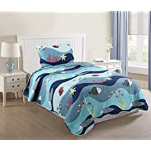 MarCielo 2 Piece Kids Bedspread Quilts Set Throw Blanket for Teens Boys Bed Printed Bedding Coverlet, Twin Size, Fish (Twin)