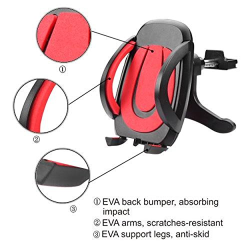 Cell Accessories For Less (TM) Red Black Car Air Vent Holder Mount Cradle Stand Universal for Samsung Galaxy Sky S320 Bundle (Stylus & Micro Cleaning Cloth) - By TheTargetBuys Stand Pho