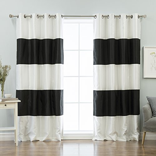 Best Home Fashion Striped Dupioni Faux Silk Blackout Curtain - Antique Bronze Grommet Top -Black- 52