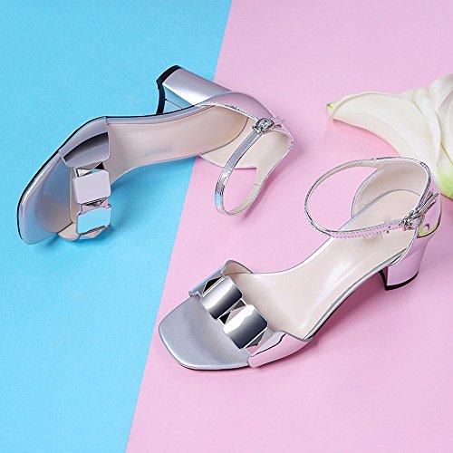 KHSKX Sandales 5Cm Talons De Sandales Avec Hauts 4 Une Les Chaussures Façon Boucle Correspond L'Argent De Forty Épaisses 4IqwxrE14
