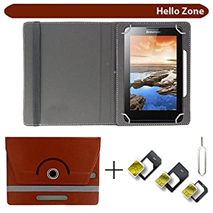 Hello Zone with Free Sim Adapter Kit Asus Zenpad C 7.0 16  GB  Z170CG  360 deg; Rotating 7 rdquo; Inch Flip Case Cover Book Cover  Brown Tablet Accessor