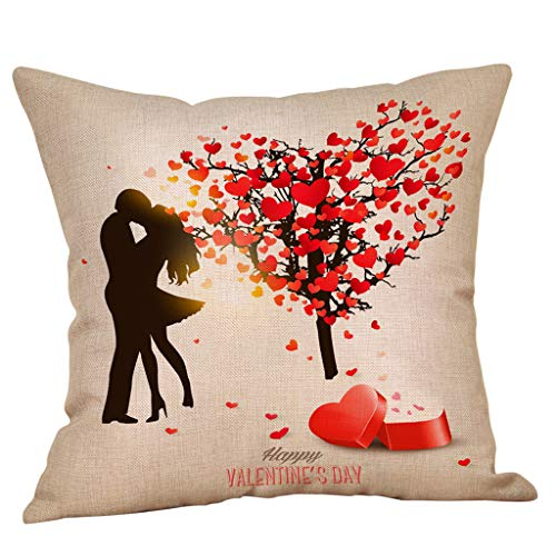Cyhulu Exquisite Beautiful Color 18x18inch Quote Throw Sweet Love Square Pillow Case Cushion Cover Romantic Lover Gifts for Happy Valentine's Day Bed Living Room Sofa Home DIY Decor (I, One size) ()