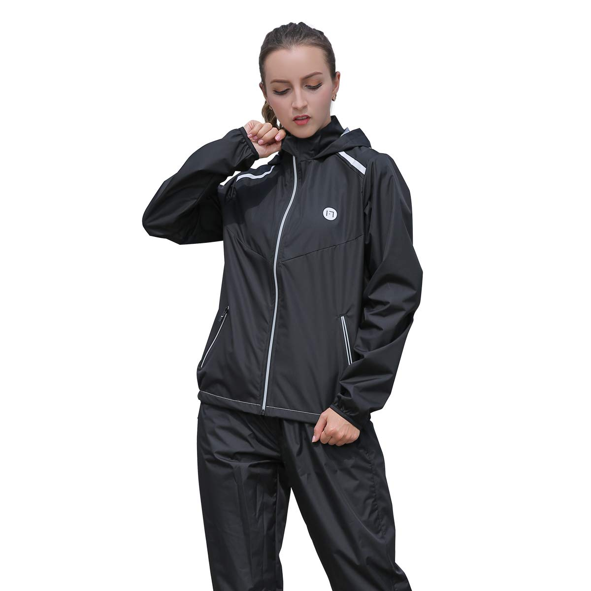 DNRZY Sauna Suit Women for Weight Lose Sweat Suit Slimming Running Anti-Rip Sport Suits Fat Burner Sweat Workout Clothes Fitness Durable Hooded Jacket Gym Training Tracksuit, Black
