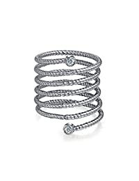 Boho Geometric Fashion Statement Cubic Zirconia CZ Stackable Full Finger Spiral Ring For Women 925 Sterling Silver