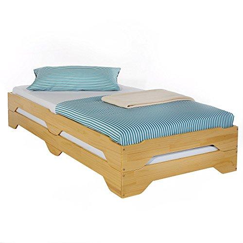 Stapelbetten Set Jugendbett Doppelbett Einzelbett Bett RONNY Kiefer massiv buchefarben lackiert 90 x 200 cm (B x L)
