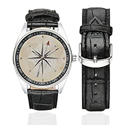 Compass Decor Casual Leather Strap Watch,Compass Rose with Metal Arrow on Vintage Grungy Background Travel Navigation Art for Men,Case Diameter:1.57