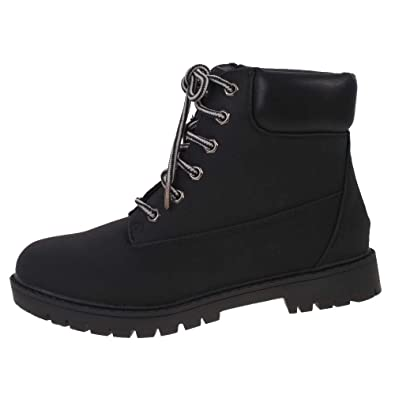 Ladies Black Nubuck Leather Look Cleated Sole Flat Lace Up Ankle Boots