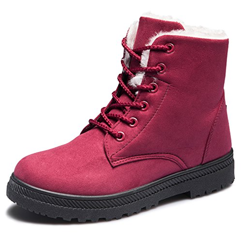 CIOR Womens Winter Warm Suede Lace Up Snow Boots Fashion Flat Platform Sneakers Red SimPJiIPni