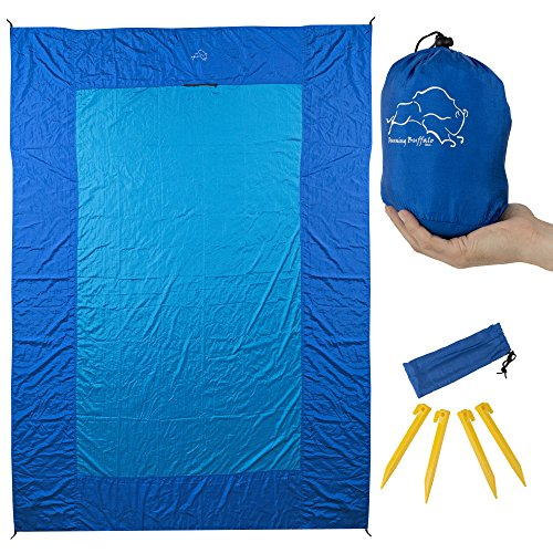 Tie Down Dry Bag (Over Sized 7x9 feet Nylon Beach Blanket - Lightweight | Compact | and Sand Proof Outdoor Beach Picnic and Camping Blanket - Includes Carry Bag | Tie-down Loops | Stakes | Zippered Pockets)