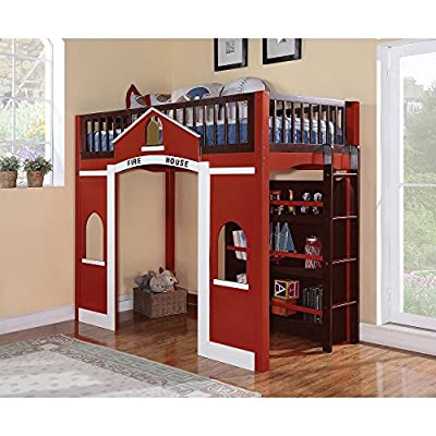 Acme Furniture Fola Loft Bed - Red White and Espresso