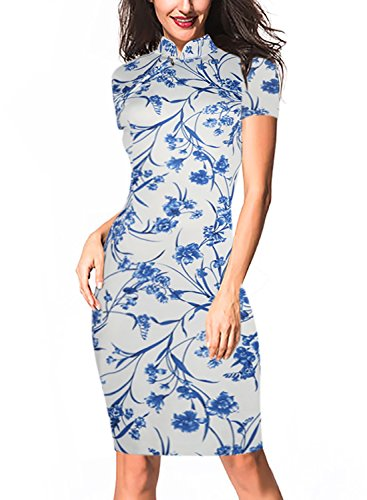 Oxiuly Women's Vintage Floral Flare Stretch Stand Collar Work Pencil Dress OX183 (M, White)