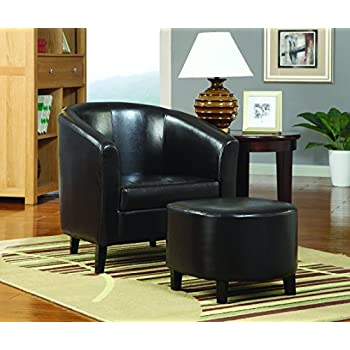 Coaster Transitional Dark Brown Leather Accent Chair with Ottoman