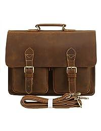 Polare Mens Genuine Leather 15.6'' Removeable Laptop Compartment Briefcase Messenger Bag Satchel