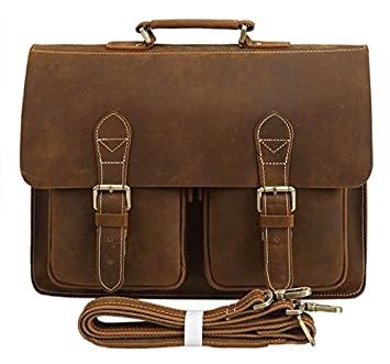 2659ee72f6 Image Unavailable. Image not available for. Color  Polare Mens Full Grain Leather  15.6   Removeable Laptop Compartment Briefcase Messenger Bag Satchel