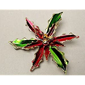 Christmas Holiday Christmas Aluminium Flowers Leaves Winter Home Decor Decoration Decorations Artificial Clip-On Poinsettias, 9 in.Red/Green Glitter 42