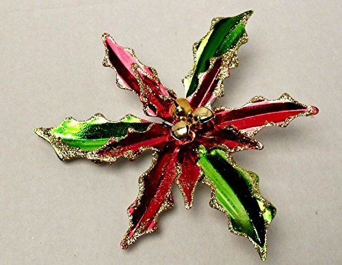 Christmas Holiday Christmas Aluminium Flowers Leaves Winter Home Decor Decoration Decorations Artificial Clip-On Poinsettias, 9 in.Red/Green (Homemade Costumes With Tights)