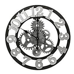 Adeco Clock 3D Retro Rustic Vintage Wooden Luxury Gear Noiseless Wall Clock, Wooden Decoration (22 Inch, Number-Silver)