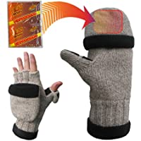 Heat Factory Fleece-Lined Ragg Wool Gloves with Fold Back Pocket Hand Warmer