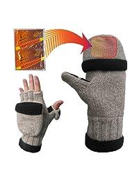 Heat Factory Fleece-Lined Ragg Wool Gloves with Fold Back Pocket Hand Warmer