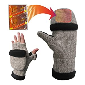 Heat Factory Fleece-Lined Ragg Wool Gloves with Fold-Back Finger Caps and Hand Heat Warmer Pockets, Men's
