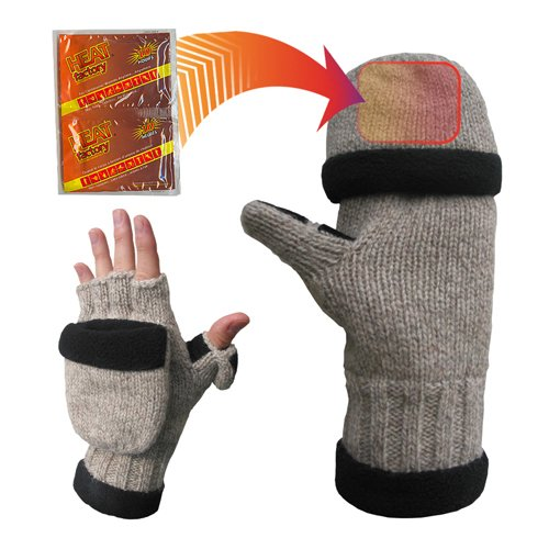 Heat Factory Fleece-Lined Ragg Wool Gloves with Fold-Back Finger Caps and Hand Heat Warmer Pockets, - Wool Lined Fleece