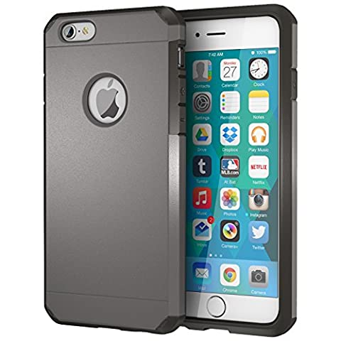 ImpactStrong Polycarbonate Dual Layer Rugged Case for Apple iPhone 6 / 6S - Gun Metal (Iphone 6 Case With Metal)