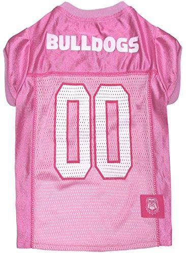 NCAA Georgia Bulldogs Dog Pink Jersey, Small. - Pet Pink Outfit.