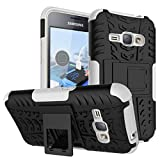 MOONCASE Galaxy J1 2016 Case Built-in Kickstand Hybrid Armor Case Detachable 2 in 1 Shockproof Tough Rugged Dual-Layer Case Cover for Samsung Galaxy J1 2016 White