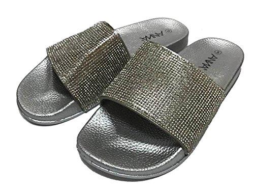 ANNA Bling Bling Rhinestone Embellished Single Band Slide Sandals Silver/Silver agSkZNTn